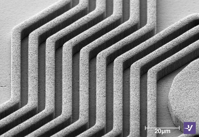 Microscope view of lines advanced packaging